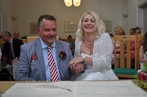 John and Claire at their wedding
